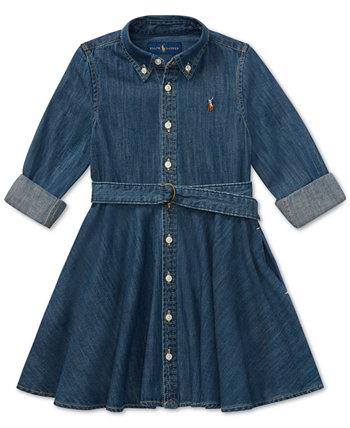 Джинсовое хлопковое платье-рубашка для маленьких девочек Ralph Lauren