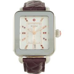 Стеганые кожаные часы Deco Sport из нержавеющей стали с циферблатом и топазом Michele