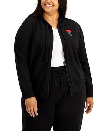 Trendy Plus Size Rose-Print Sweatshirt Rebellious One