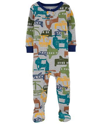 Цельнокроеная пижама из хлопка Footie, плотно прилегающая к вертолету для маленьких мальчиков Carter's