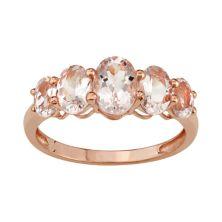 10k Rose Gold Morganite 5-Stone Ring Tiara