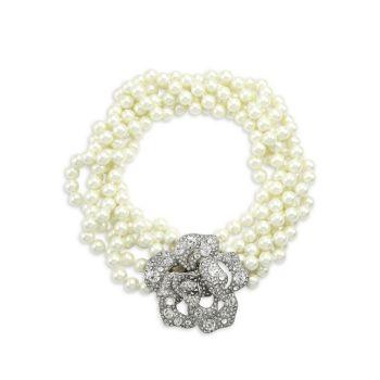 Glass Pearl & amp; Многорядное колье с хрустальным цветком Kenneth Jay Lane