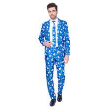 Мужской костюм Slim-Fit Blue Snowman с галстуком и синим костюмом для мужчин Suitmeister
