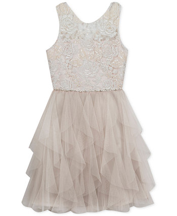 Big Girls Embroidered Cascading Ruffle Dress Rare Editions