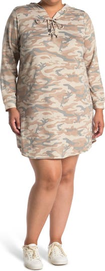 Camo Hooded Lace-Up V-Neck Long Sleeve T-Shirt Dress BLUE ORCHID