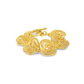 22K Goldplated Textured Clusters Toggle Bracelet Kenneth Jay Lane