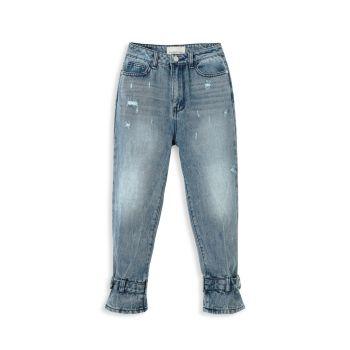 Рваные джинсы для девочек с поясом и манжетами HABITUAL girl