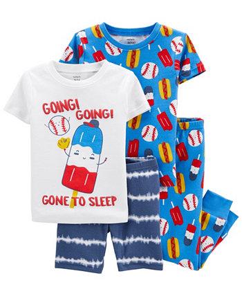 Пижама для новорожденных с бейсбольным мячом, комплект из 4 предметов Carter's