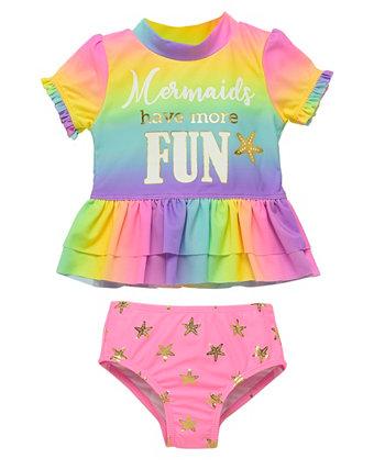 Набор для рашгарда Infant Girls 2 Piece с изображением радуги Wetsuit Club