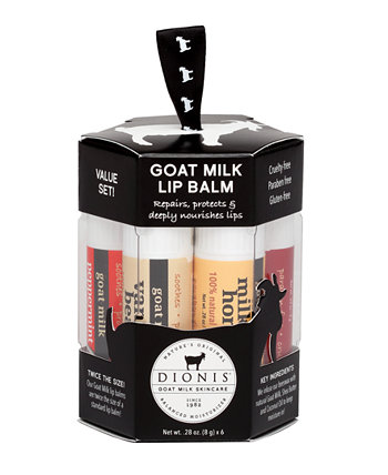 Набор бальзамов для губ с козьим молоком, 6 шт. Dionis
