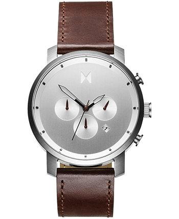 Мужские часы Chrono с коричневым кожаным ремешком 45 мм MVMT