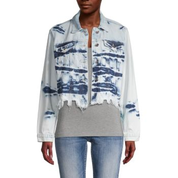 Укороченная джинсовая куртка с принтом тай-дай Vigoss