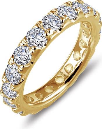 Позолоченное кольцо Eternity из стерлингового серебра с симулированным бриллиантом LaFonn