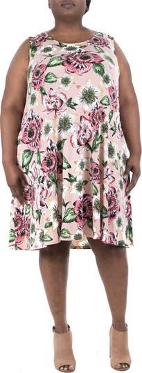 Sleeveless Lace-Up Back Floral Dress Nina Leonard