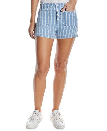 Полосатые джинсовые шорты OAT