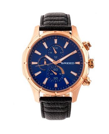 Кварцевый хронограф Lacroix из розового золота с темно-коричневыми часами из натуральной кожи 47 мм Breed