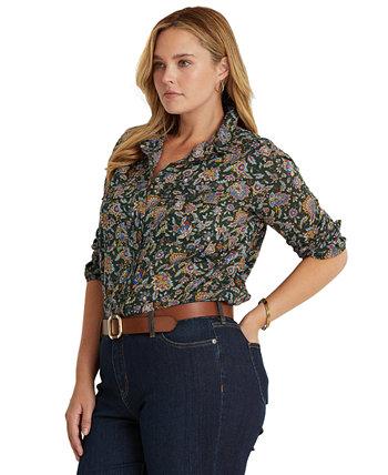 Рубашка большого размера из хлопковой вуали с принтом Ascot Ralph Lauren