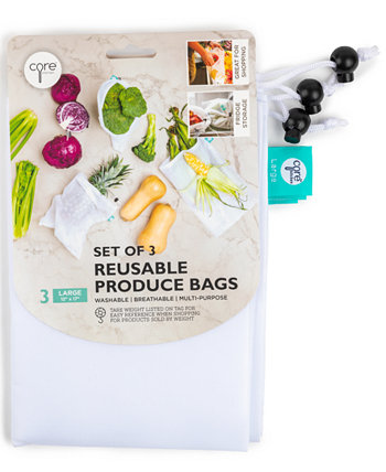 Набор из 3-х многоразовых белых сетчатых пакетов для продуктов, больших Core Home