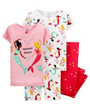 Пижамный комплект из 4 предметов с русалочкой для маленьких девочек Carter's