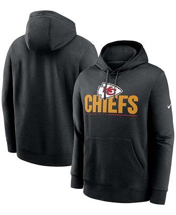 Толстовка с капюшоном мужская большая и высокая, черная команда Kansas City Chiefs Team Impact Club Nike