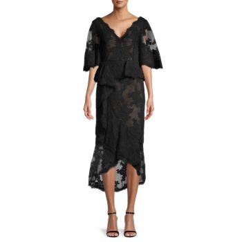 Flutter Sleeve Ruffle Dress Marchesa