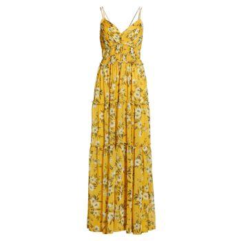 Шифоновое платье макси со складками ML Monique Lhuillier