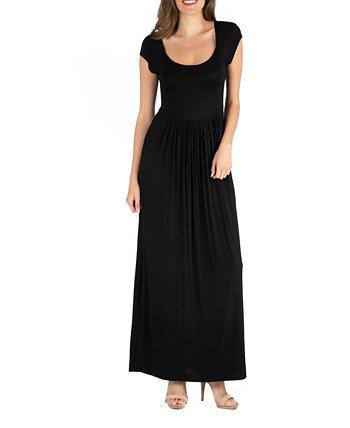 Макси-платье с круглым вырезом и завышенной талией 24seven Comfort Apparel