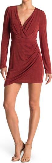Бархатное мини-платье с длинными рукавами Surplice ONE ONE SIX
