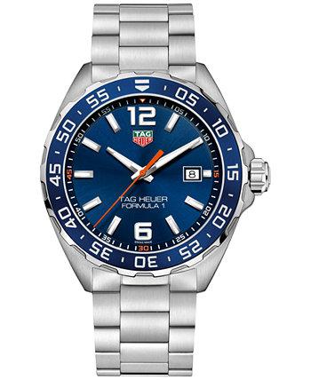 Мужские швейцарские часы Formula 1 с браслетом из нержавеющей стали 43 мм TAG Heuer