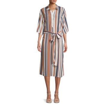 Платье-рубашка миди в полоску Dress Forum