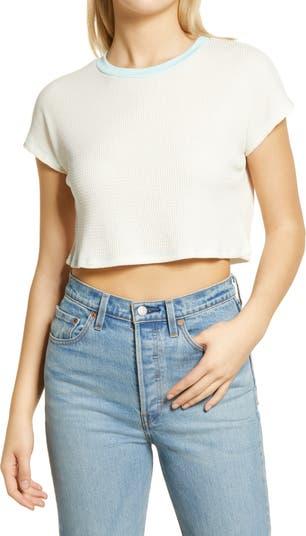 Укороченная футболка с контрастной отделкой из термо-трикотажа ALL IN FAVOR