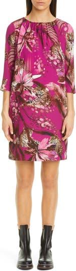 Leopard & Floral Print Shift Dress FUZZI