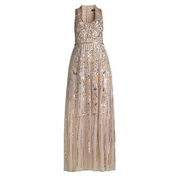 Платье без рукавов с вышивкой бисером Aidan Mattox
