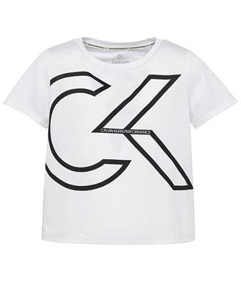 Футболка оверсайз с сетчатым логотипом Big Girls Calvin Klein
