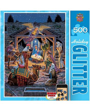 Праздничный пазл с блестками - Святая ночь - 500 шт MasterPieces Puzzle Company