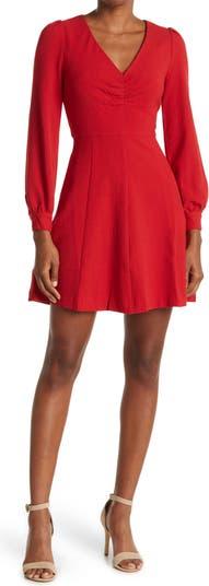 Платье с длинными рукавами и V-образным вырезом со сборками FRNCH