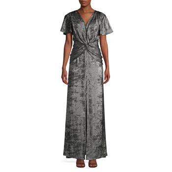 Бархатное платье трапециевидной формы с рукавами-крылышками Aidan Mattox