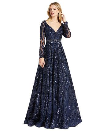 Платье из бисера с иллюзией MAC DUGGAL