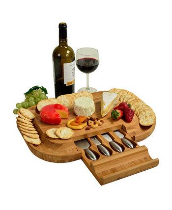 Бамбуковая сырная доска Malvern Deluxe с ободком для крекера и 4 инструментами Picnic At Ascot