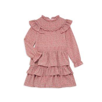 Платье для маленьких девочек с цветочным принтом и оборками Imoga