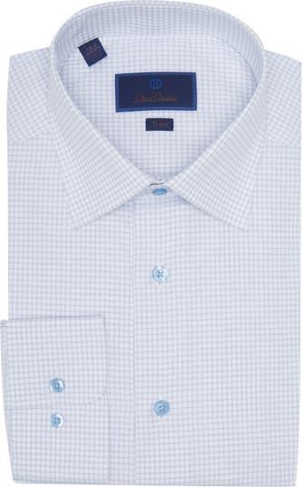 Классическая рубашка с принтом в сетку и обрезкой David Donahue