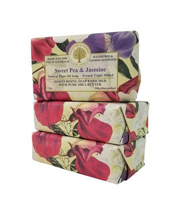 Мыло с душистым горошком и жасмином по 3 штуки в упаковке по 7 унций Wavertree & London