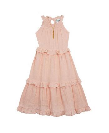 Марлевое макси-платье для больших девочек с колье, комплект из 2 предметов Rare Editions