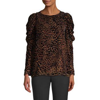 Бархатная блузка Burnout с леопардовым принтом Noelle Elie Tahari