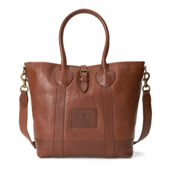 Heritage Tumbled Leather Tote  Size Ralph Lauren