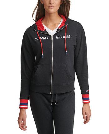 Худи с заниженными плечами и молнией с логотипом Tommy Hilfiger