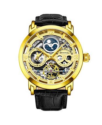 Мужские черные кожаные часы с ремешком 47мм Stuhrling