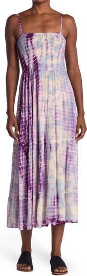 Tie-Dye Smocked Sleeveless Maxi Dress Angie
