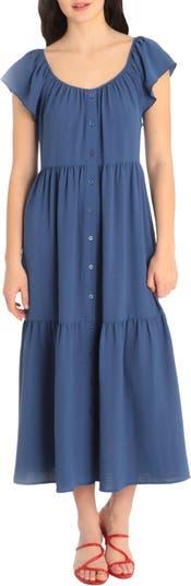 Ruffle Sleeve Tiered Maxi Dress Maggy London