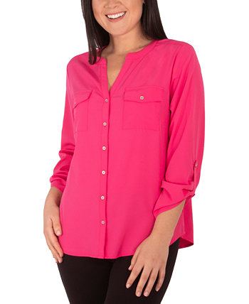Блузка Petite с закрученными рукавами NY Collection